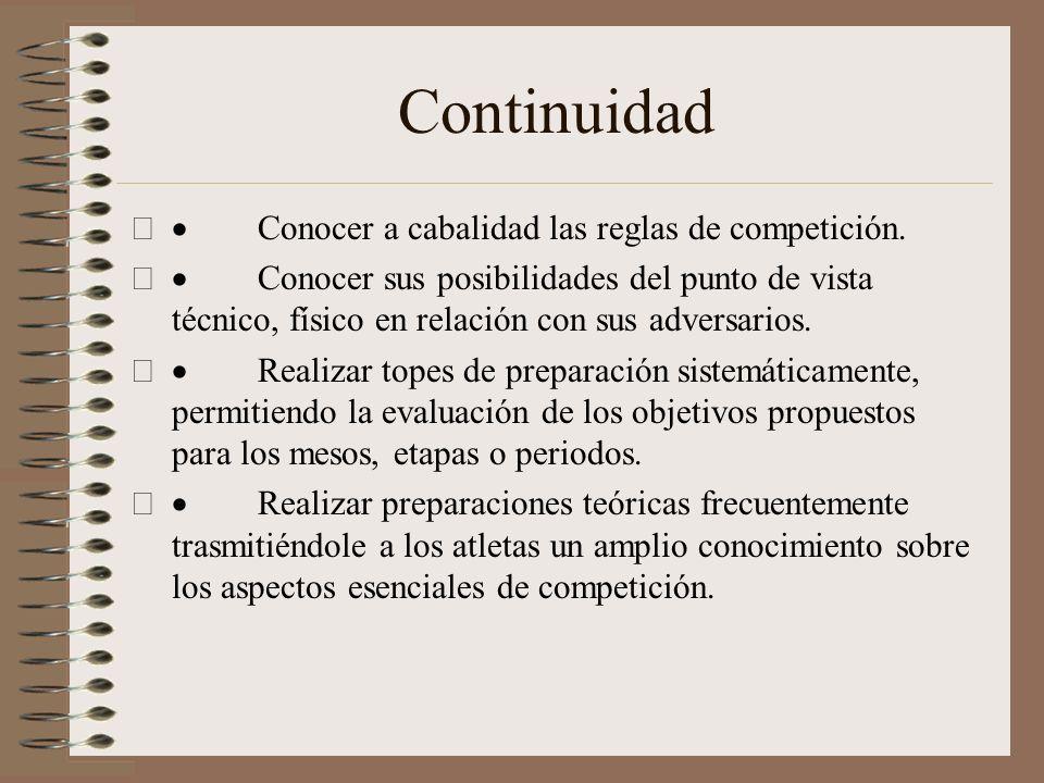 Continuidad · Conocer a cabalidad las reglas de competición.