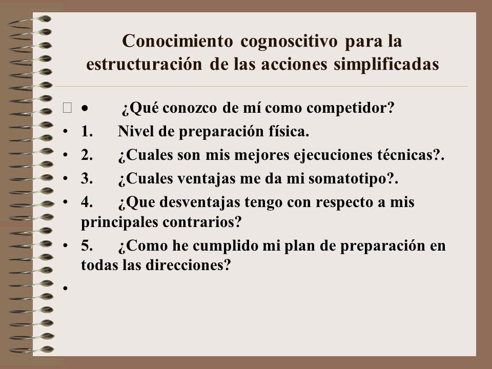 Conocimiento cognoscitivo para la estructuración de las acciones simplificadas