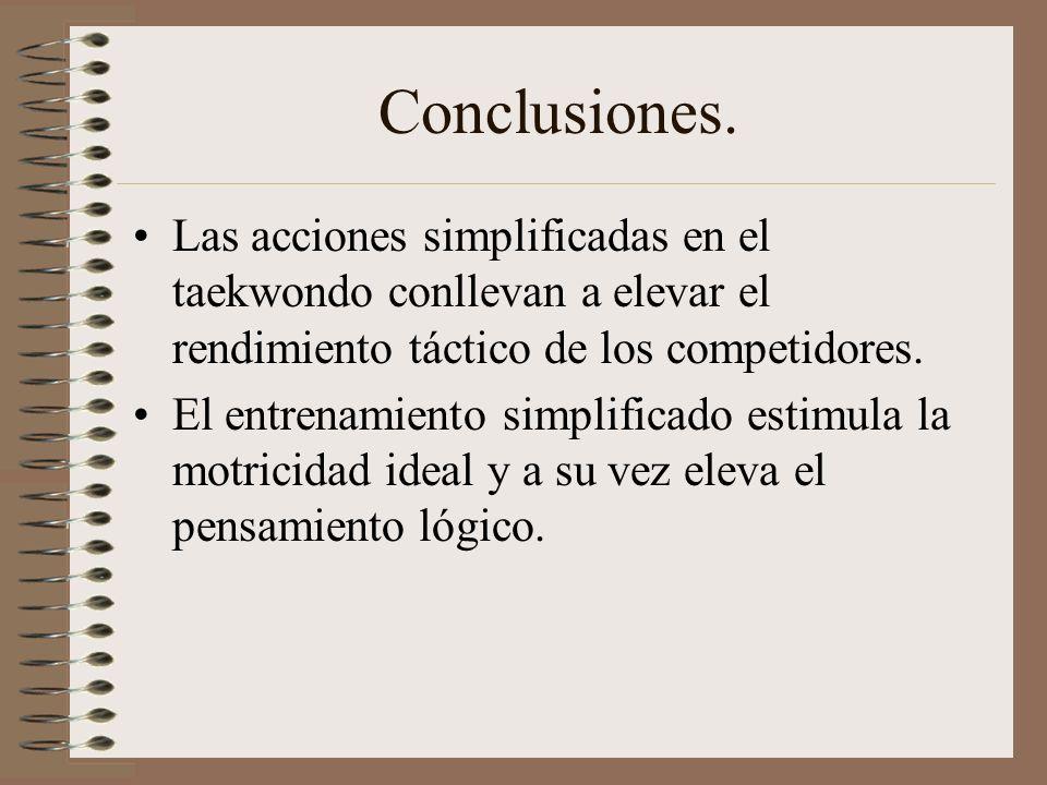 Conclusiones. Las acciones simplificadas en el taekwondo conllevan a elevar el rendimiento táctico de los competidores.