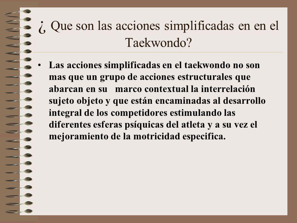 ¿ Que son las acciones simplificadas en en el Taekwondo