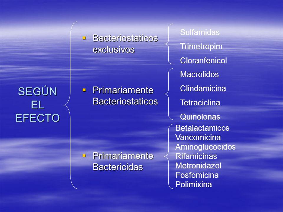 SEGÚN EL EFECTO Bacteriostaticos exclusivos