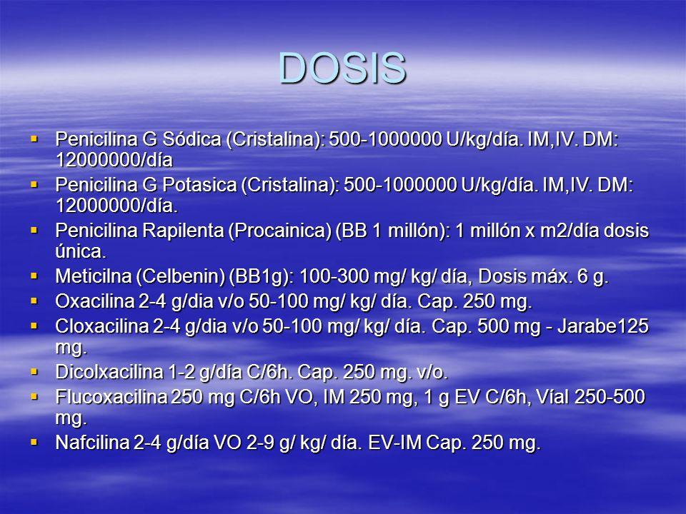 DOSIS Penicilina G Sódica (Cristalina): 500-1000000 U/kg/día. IM,IV. DM: 12000000/día.