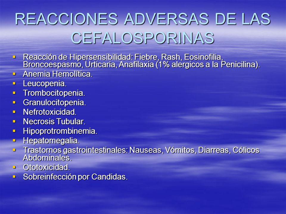 REACCIONES ADVERSAS DE LAS CEFALOSPORINAS