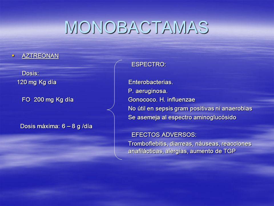 MONOBACTAMAS AZTREONAN ESPECTRO: Dosis: 120 mg Kg día Enterobacterias.