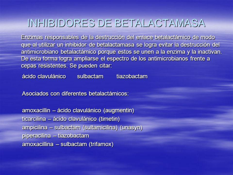 INHIBIDORES DE BETALACTAMASA