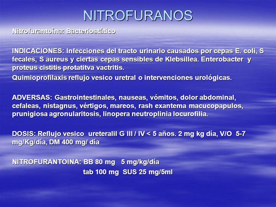 NITROFURANOS Nitrofurantoína: Bacteriostático