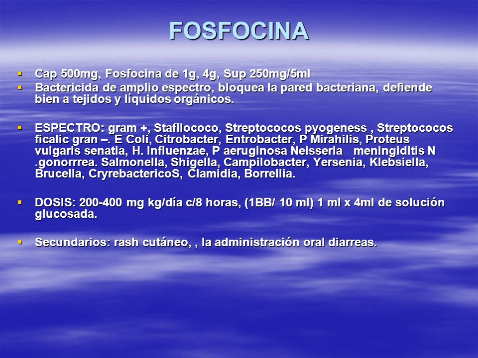 FOSFOCINA Cap 500mg, Fosfocina de 1g, 4g, Sup 250mg/5ml