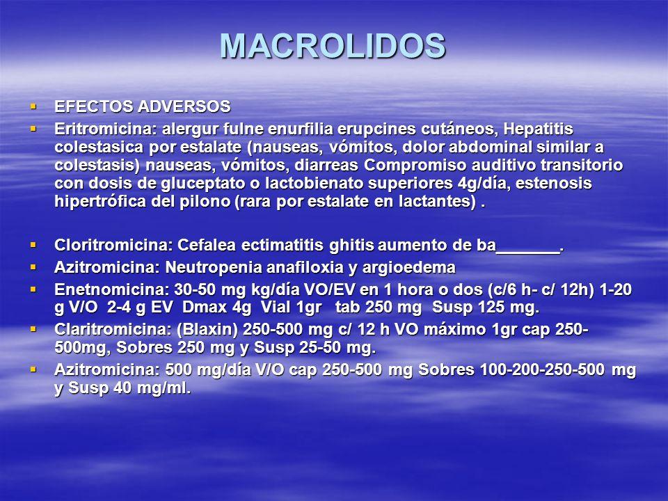 MACROLIDOS EFECTOS ADVERSOS