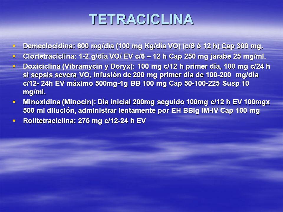 TETRACICLINA Demeclocidina: 600 mg/día (100 mg Kg/día VO) (c/6 ó 12 h) Cap 300 mg.