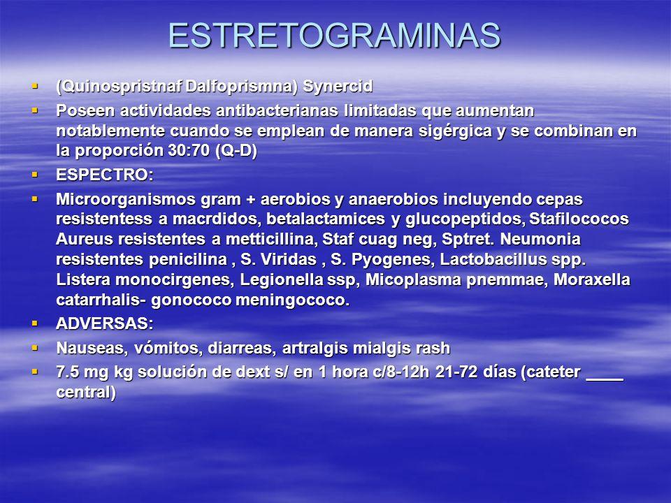 ESTRETOGRAMINAS (Quinospristnaf Dalfoprismna) Synercid