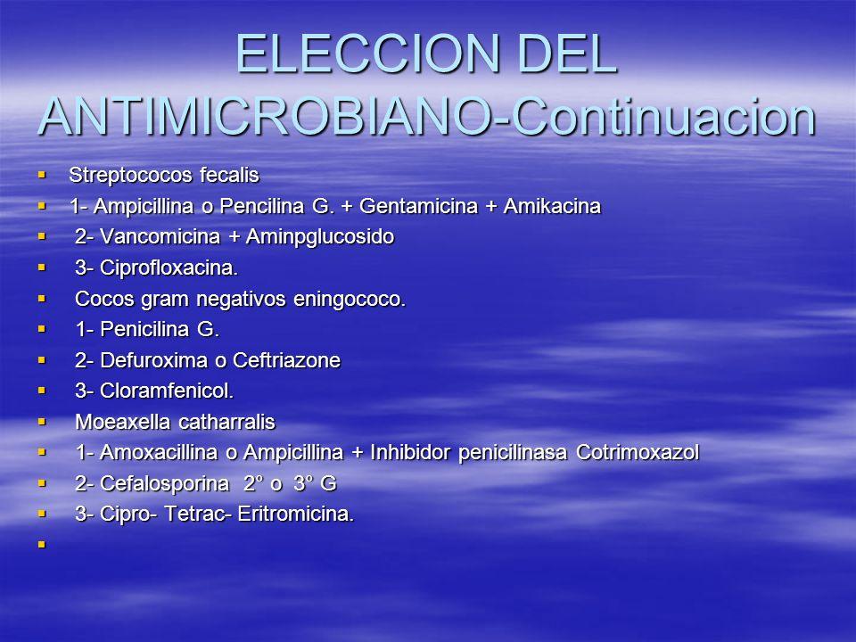 ELECCION DEL ANTIMICROBIANO-Continuacion