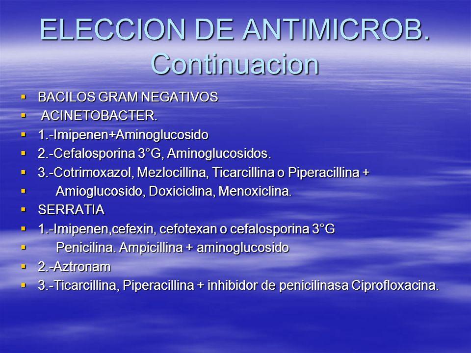 ELECCION DE ANTIMICROB. Continuacion