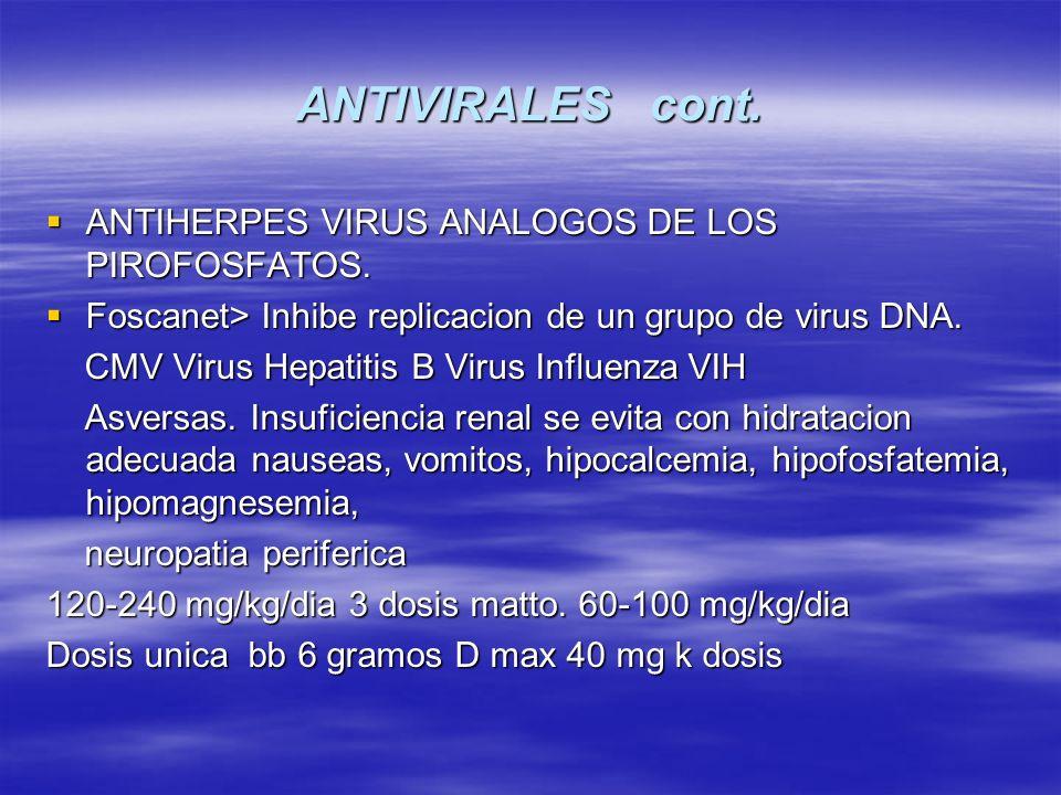 ANTIVIRALES cont. ANTIHERPES VIRUS ANALOGOS DE LOS PIROFOSFATOS.