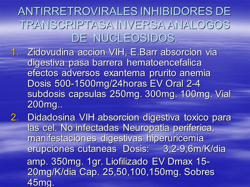 ANTIRRETROVIRALES INHIBIDORES DE TRANSCRIPTASA INVERSA ANALOGOS DE NUCLEOSIDOS.