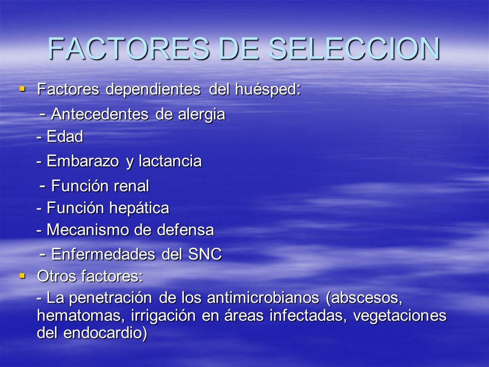 FACTORES DE SELECCION - Antecedentes de alergia - Función renal