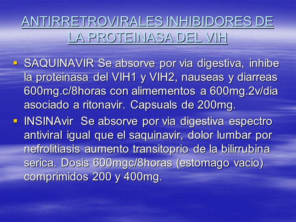 ANTIRRETROVIRALES INHIBIDORES DE LA PROTEINASA DEL VIH