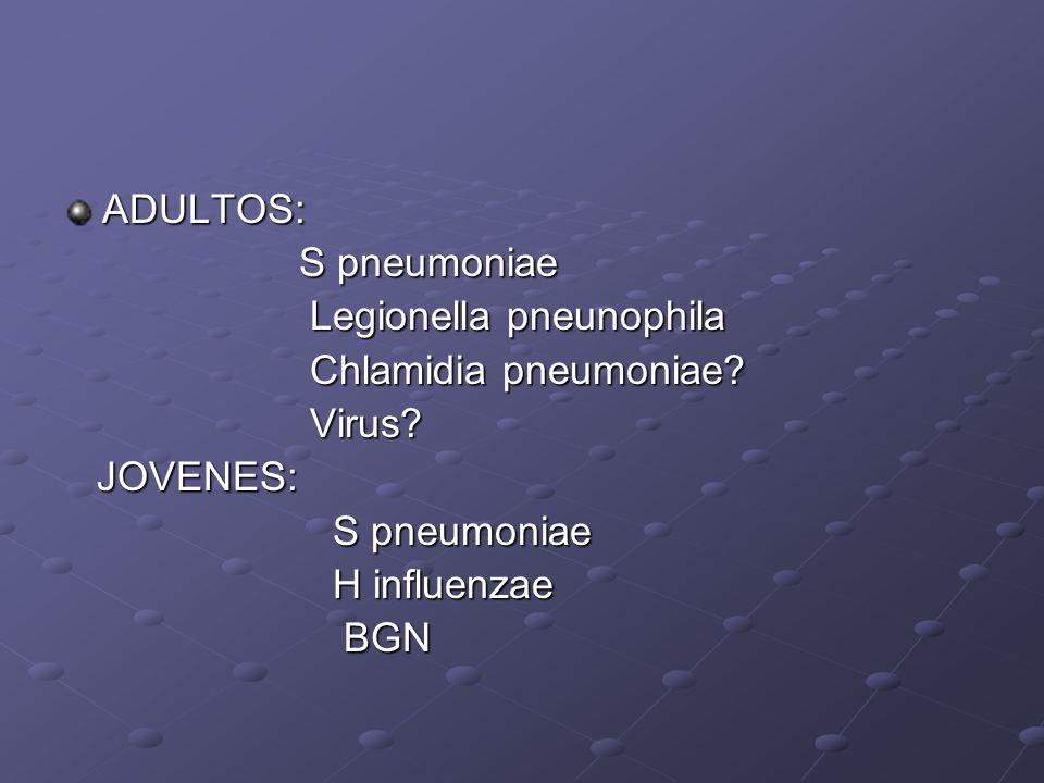 ADULTOS: S pneumoniae Legionella pneunophila Chlamidia pneumoniae Virus JOVENES: H influenzae BGN