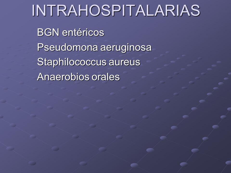INTRAHOSPITALARIAS BGN entéricos Pseudomona aeruginosa
