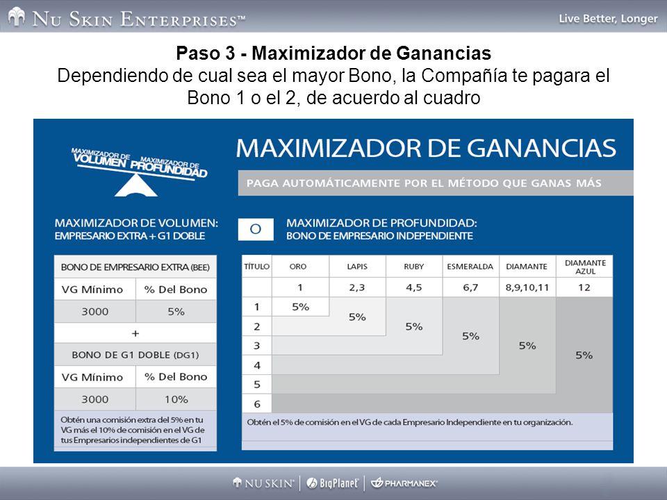 Paso 3 - Maximizador de Ganancias Dependiendo de cual sea el mayor Bono, la Compañía te pagara el Bono 1 o el 2, de acuerdo al cuadro