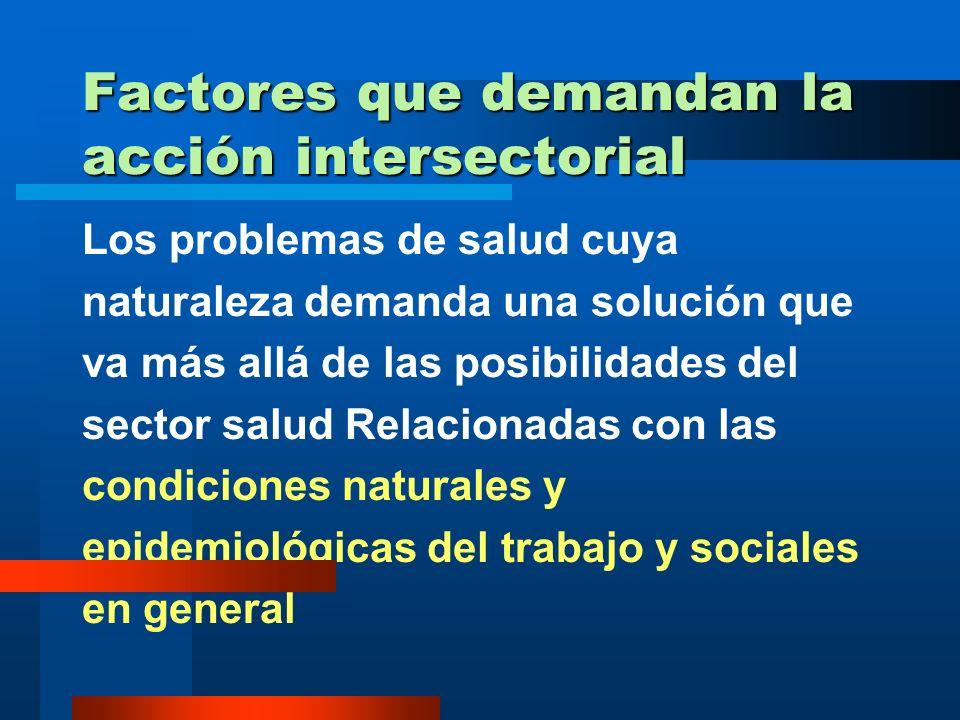Factores que demandan la acción intersectorial