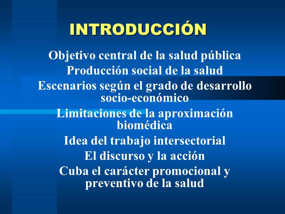 INTRODUCCIÓN Objetivo central de la salud pública