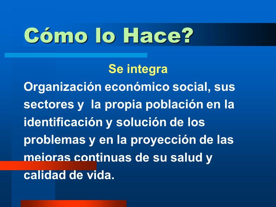 Cómo lo Hace Se integra Organización económico social, sus