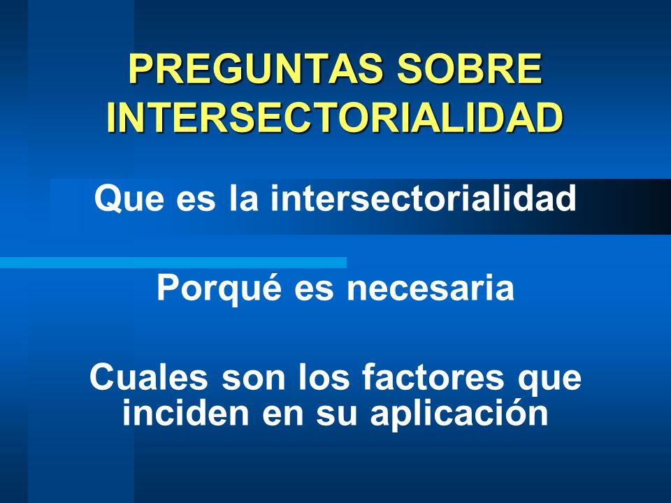 PREGUNTAS SOBRE INTERSECTORIALIDAD