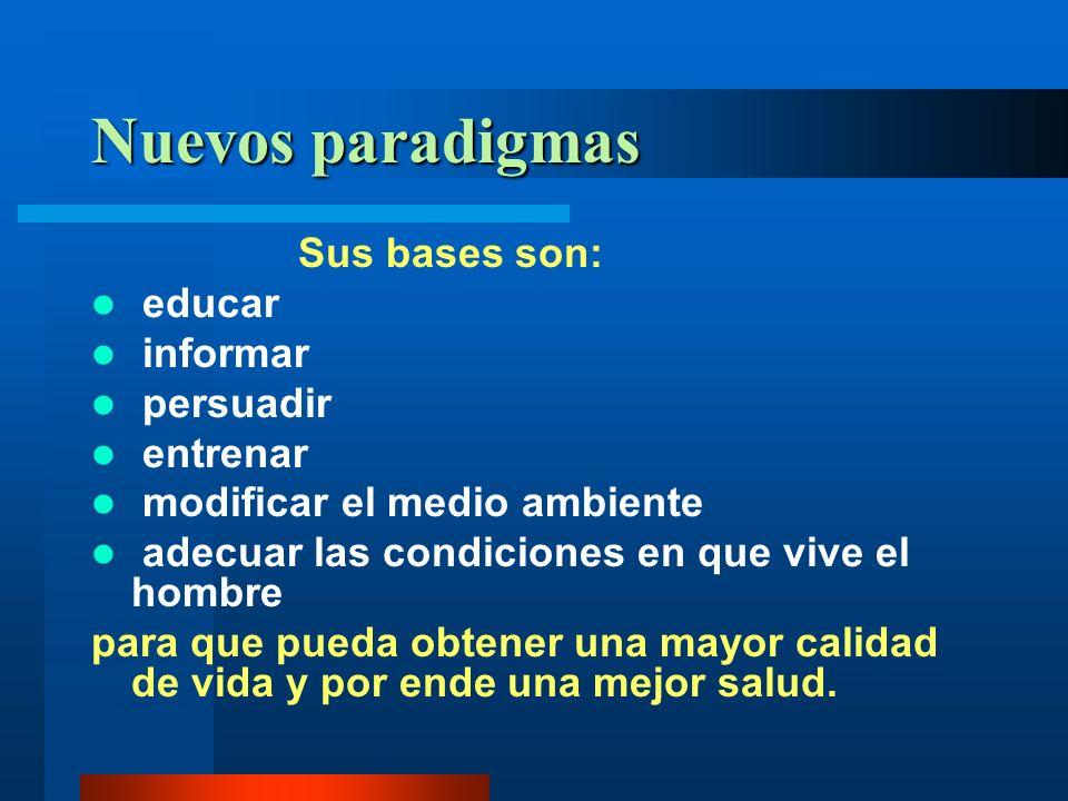 Nuevos paradigmas Sus bases son: educar informar persuadir entrenar