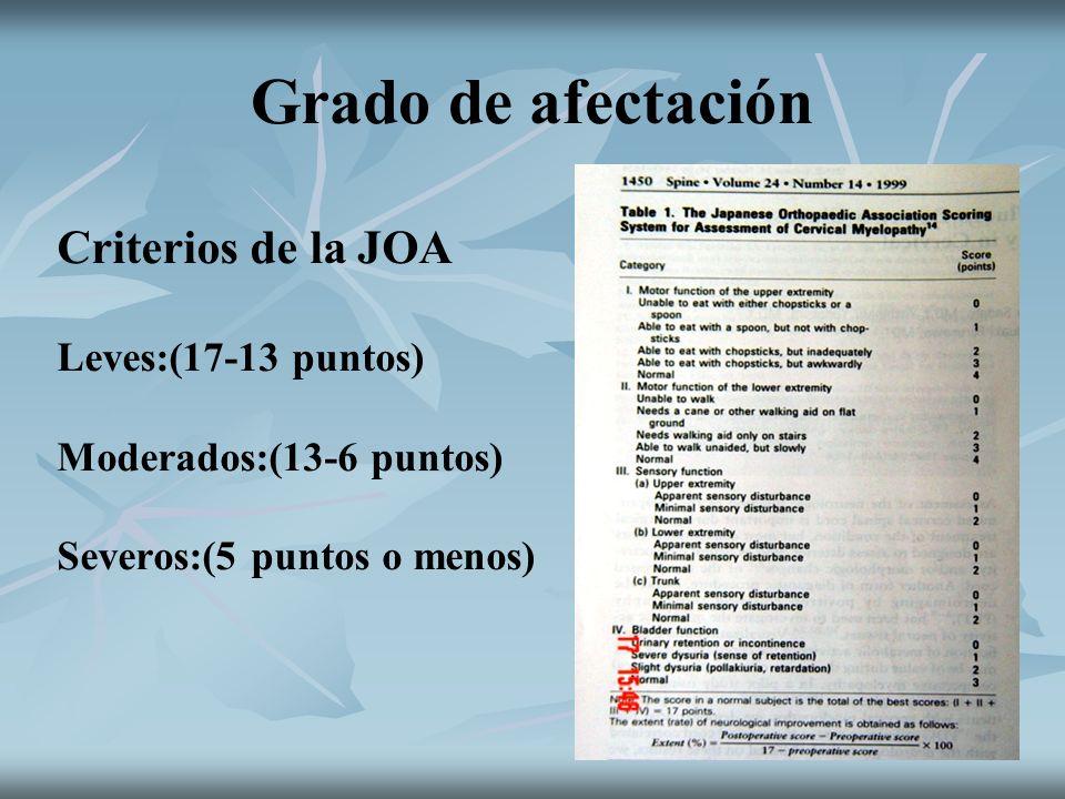 Grado de afectación Criterios de la JOA Leves:(17-13 puntos)
