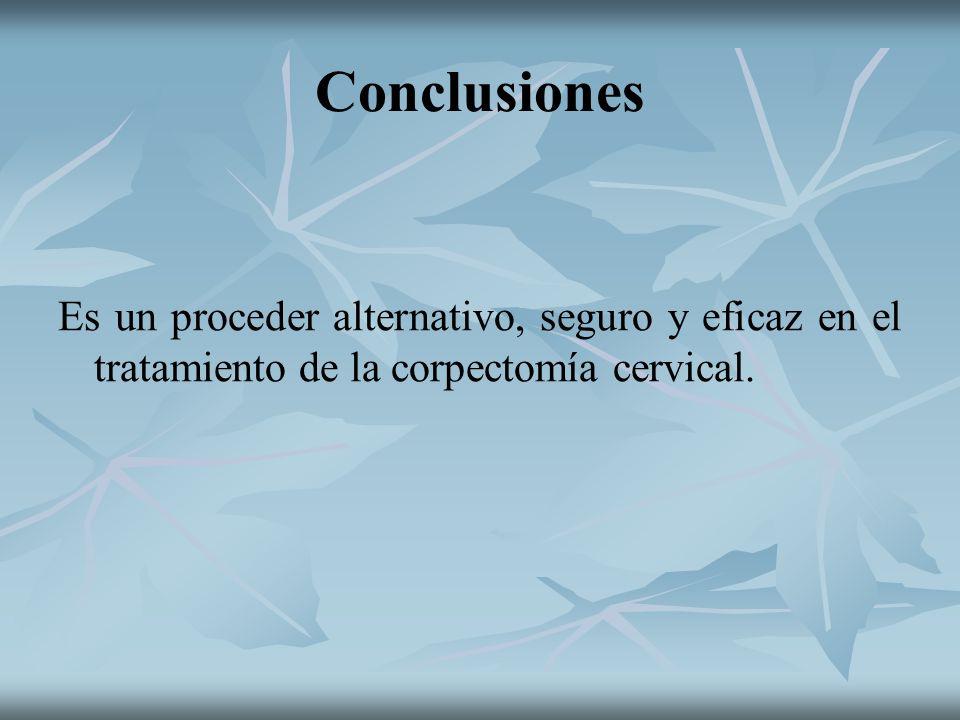 ConclusionesEs un proceder alternativo, seguro y eficaz en el tratamiento de la corpectomía cervical.
