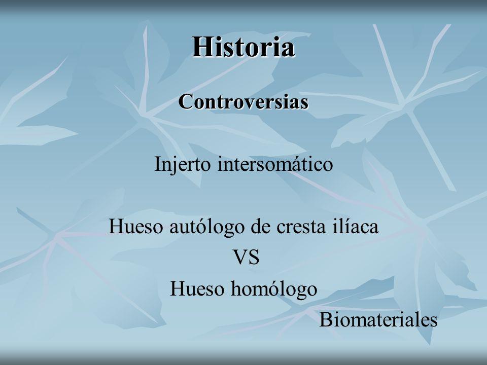 Historia Controversias Injerto intersomático