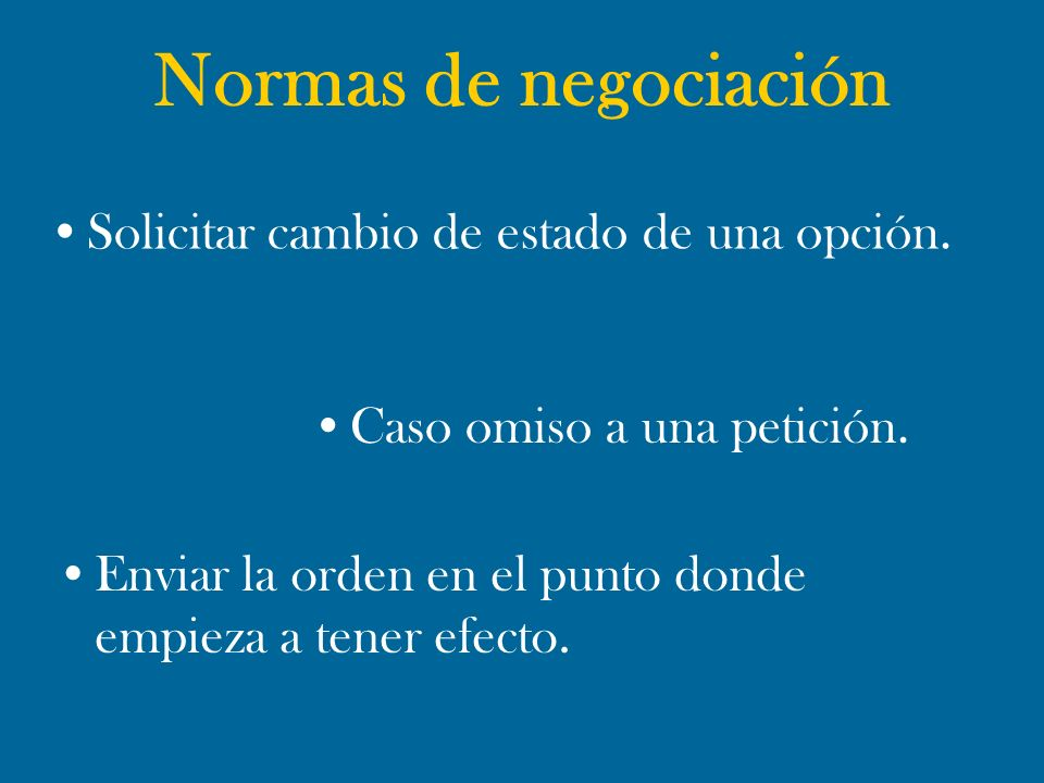 Normas de negociación Solicitar cambio de estado de una opción.