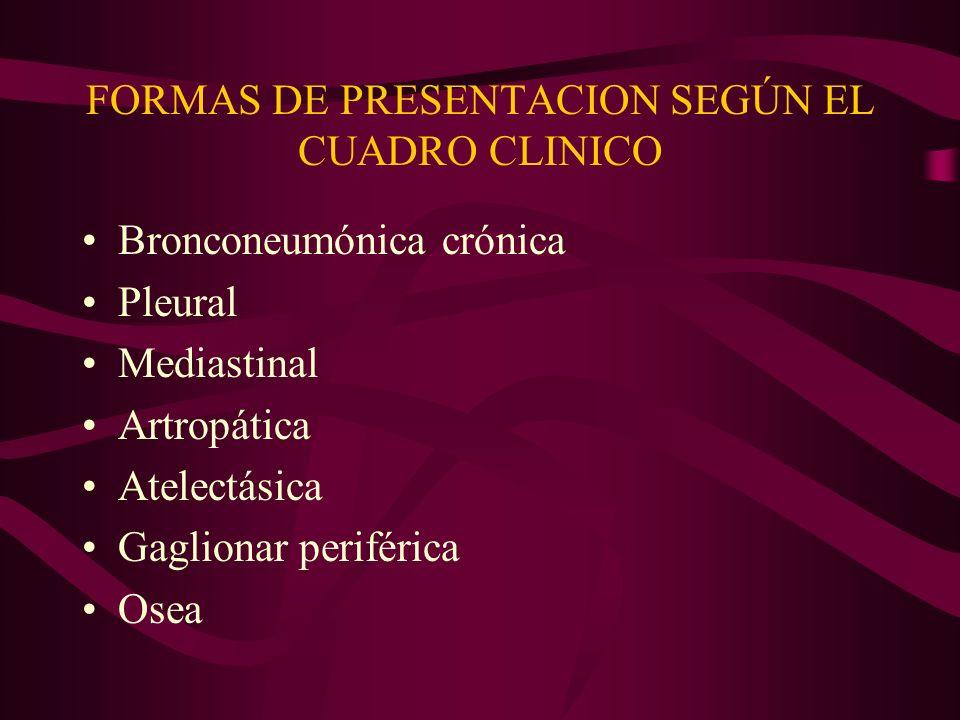 FORMAS DE PRESENTACION SEGÚN EL CUADRO CLINICO