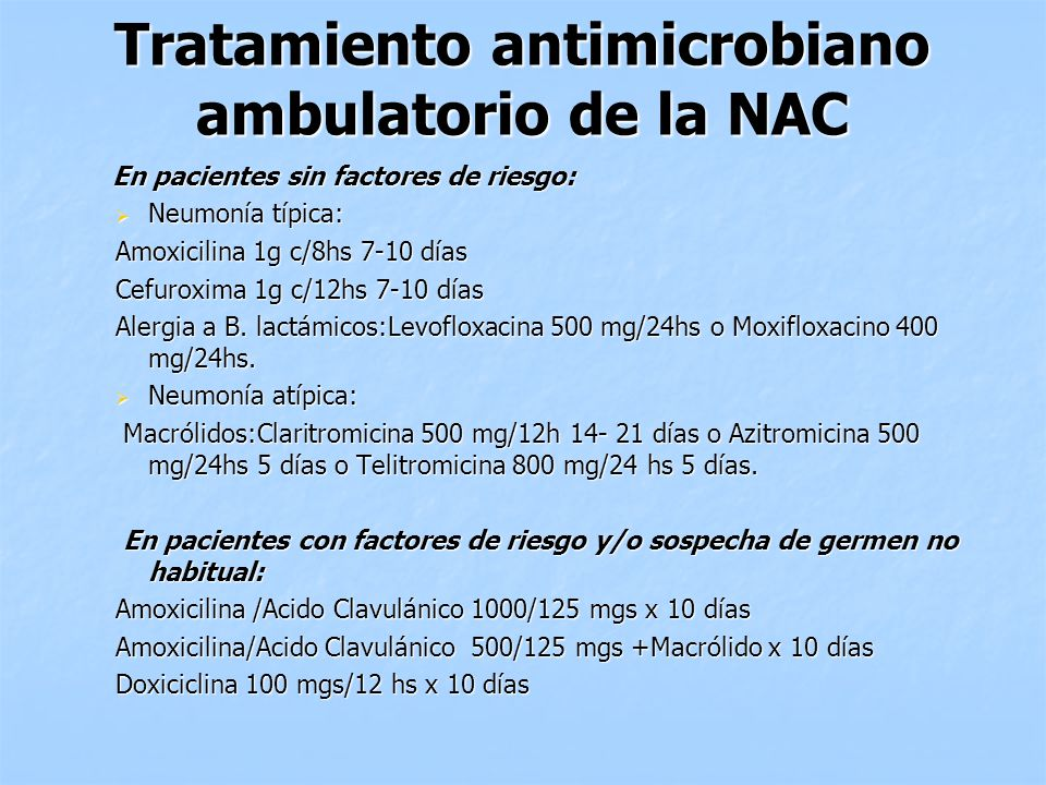 Tratamiento antimicrobiano ambulatorio de la NAC