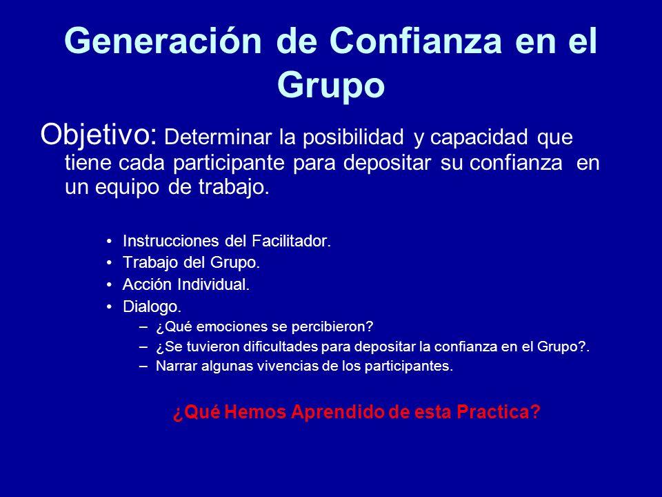 Generación de Confianza en el Grupo