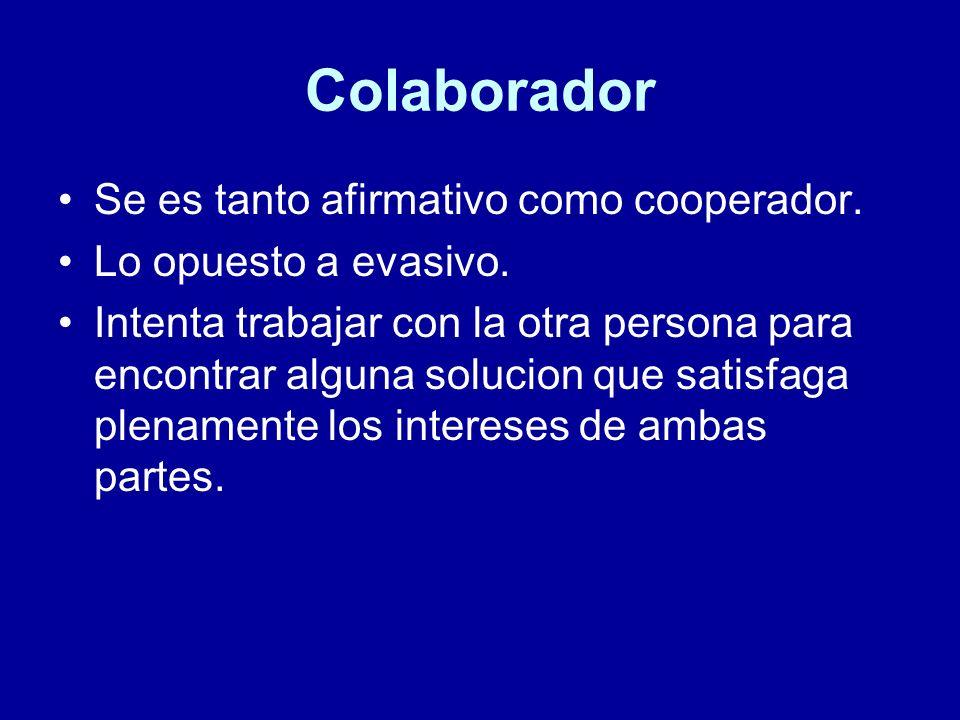 Colaborador Se es tanto afirmativo como cooperador.
