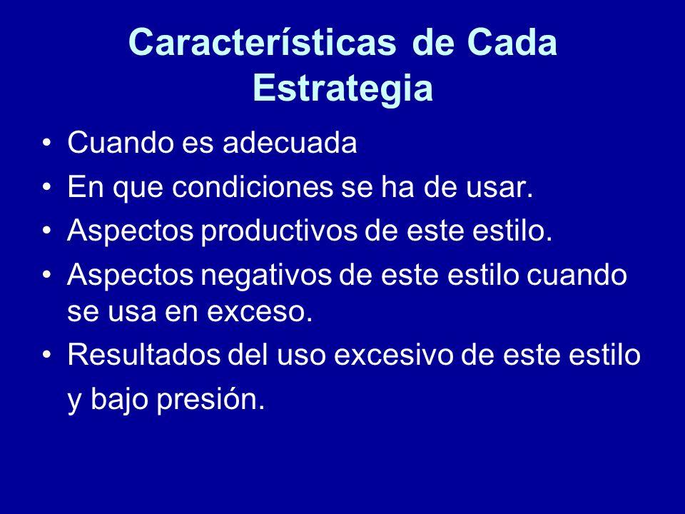 Características de Cada Estrategia