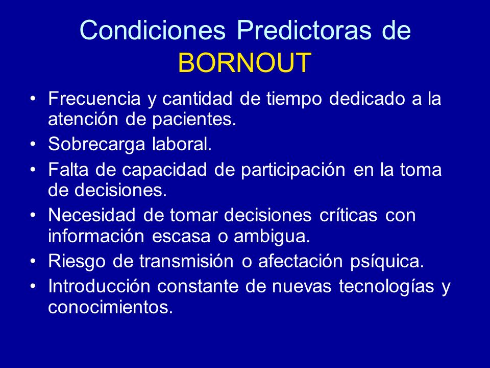 Condiciones Predictoras de BORNOUT
