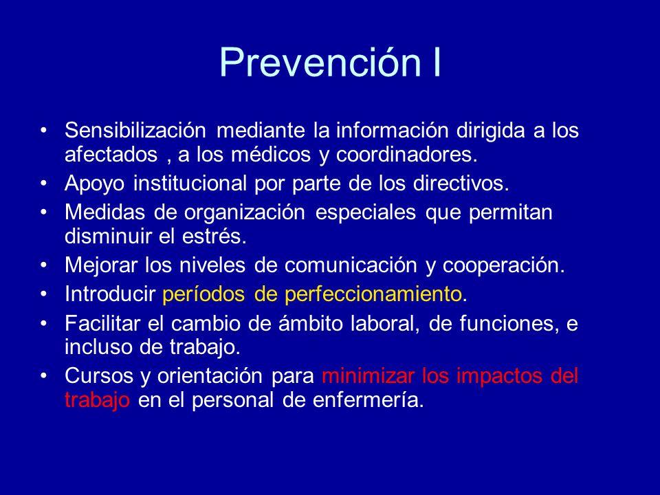 Prevención I Sensibilización mediante la información dirigida a los afectados , a los médicos y coordinadores.
