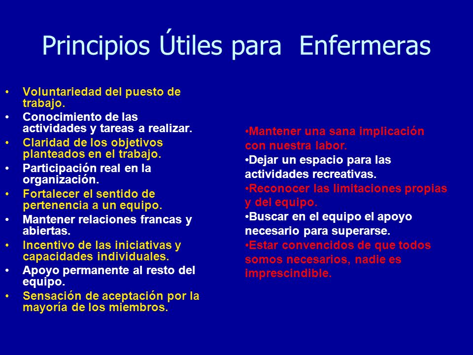 Principios Útiles para Enfermeras
