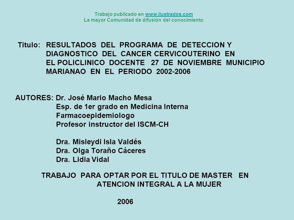 Titulo: RESULTADOS DEL PROGRAMA DE DETECCION Y