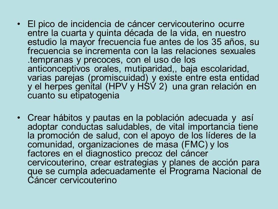 El pico de incidencia de cáncer cervicouterino ocurre entre la cuarta y quinta década de la vida, en nuestro estudio la mayor frecuencia fue antes de los 35 años, su frecuencia se incrementa con la las relaciones sexuales .tempranas y precoces, con el uso de los anticonceptivos orales, mutiparidad,, baja escolaridad, varias parejas (promiscuidad) y existe entre esta entidad y el herpes genital (HPV y HSV 2) una gran relación en cuanto su etipatogenia