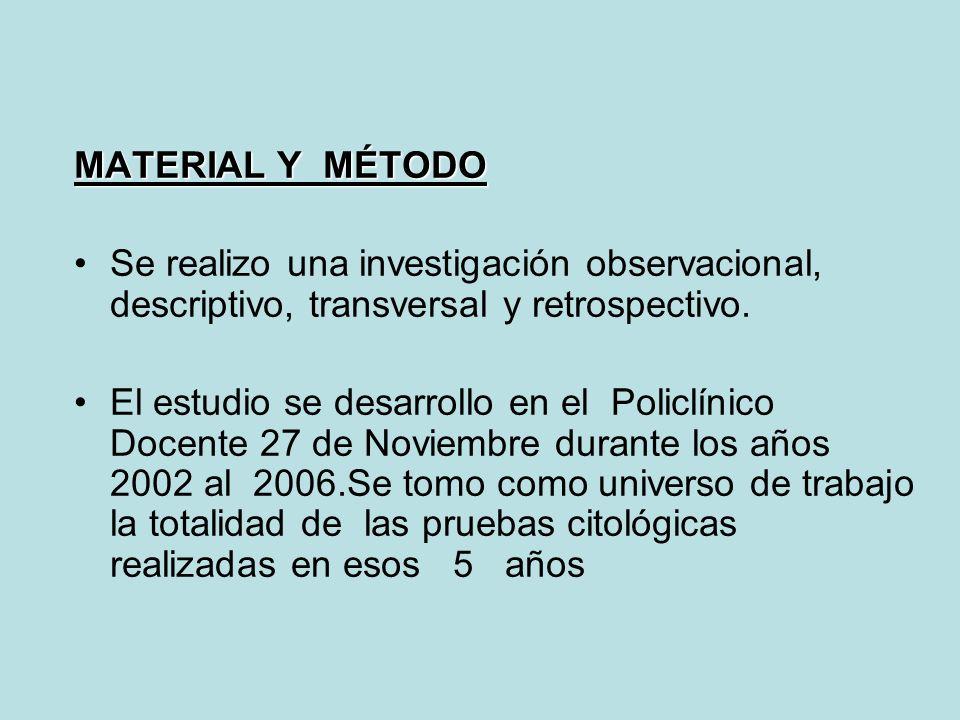 MATERIAL Y MÉTODO Se realizo una investigación observacional, descriptivo, transversal y retrospectivo.