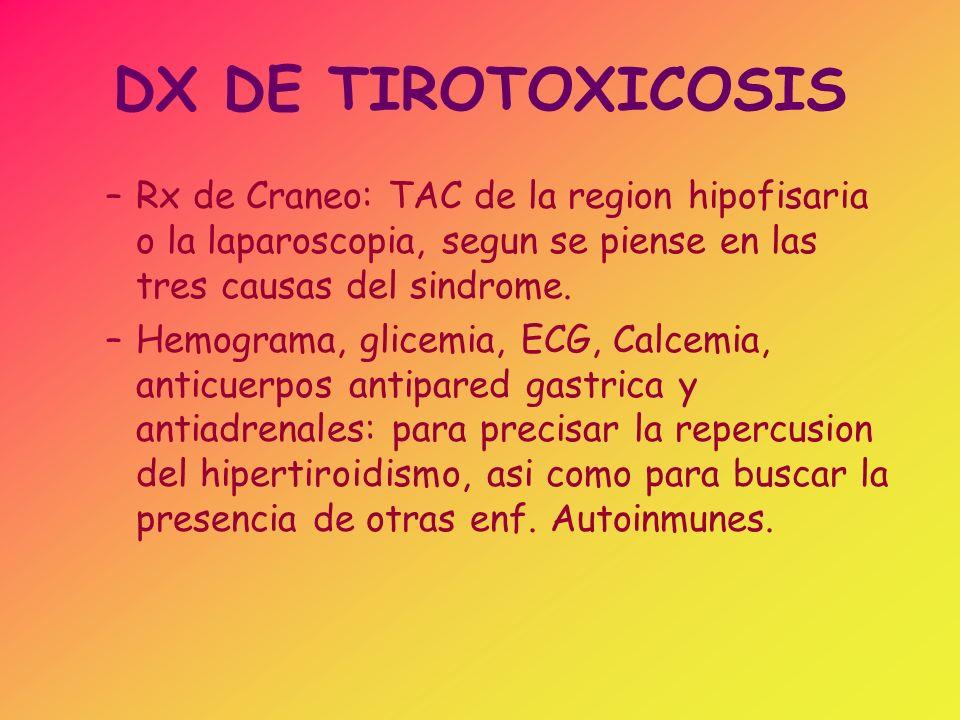 DX DE TIROTOXICOSIS Rx de Craneo: TAC de la region hipofisaria o la laparoscopia, segun se piense en las tres causas del sindrome.
