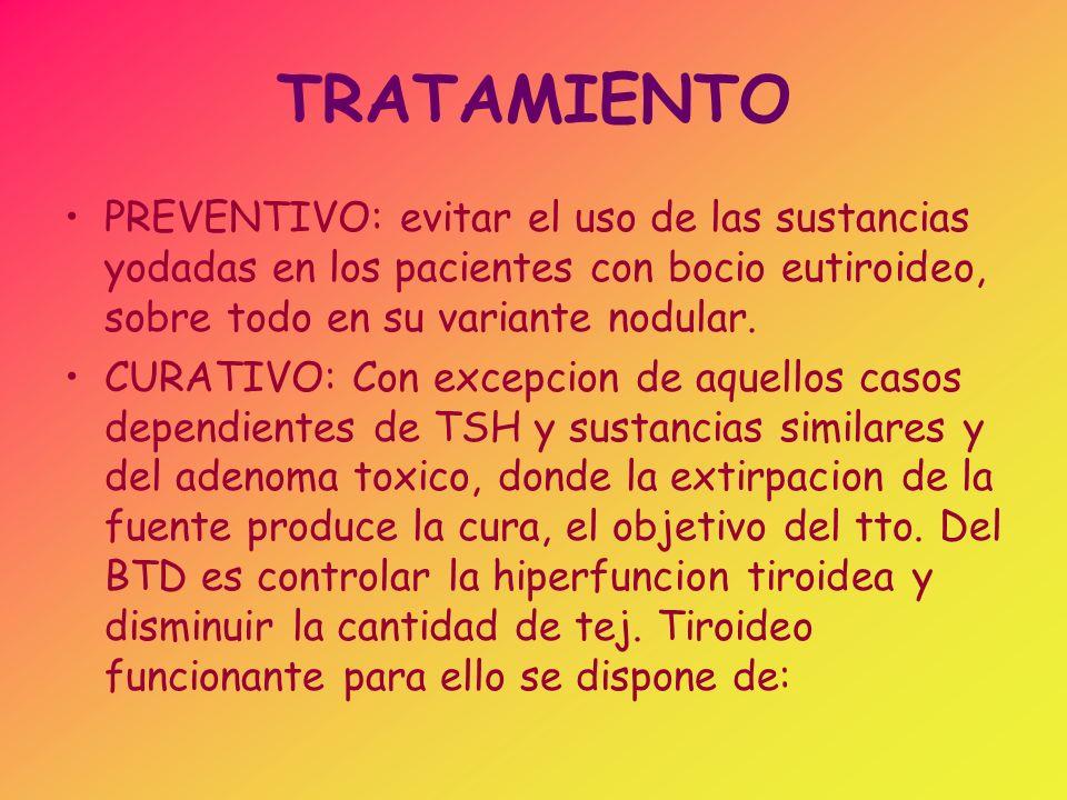 TRATAMIENTO PREVENTIVO: evitar el uso de las sustancias yodadas en los pacientes con bocio eutiroideo, sobre todo en su variante nodular.