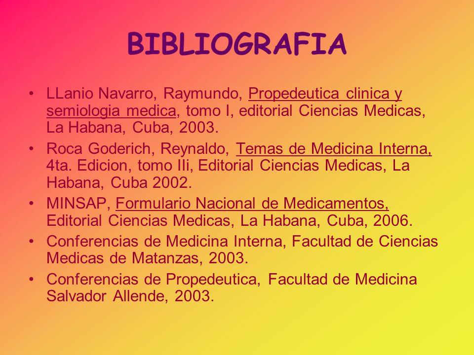 BIBLIOGRAFIA LLanio Navarro, Raymundo, Propedeutica clinica y semiologia medica, tomo I, editorial Ciencias Medicas, La Habana, Cuba, 2003.