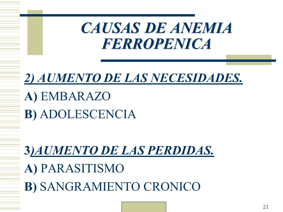 CAUSAS DE ANEMIA FERROPENICA
