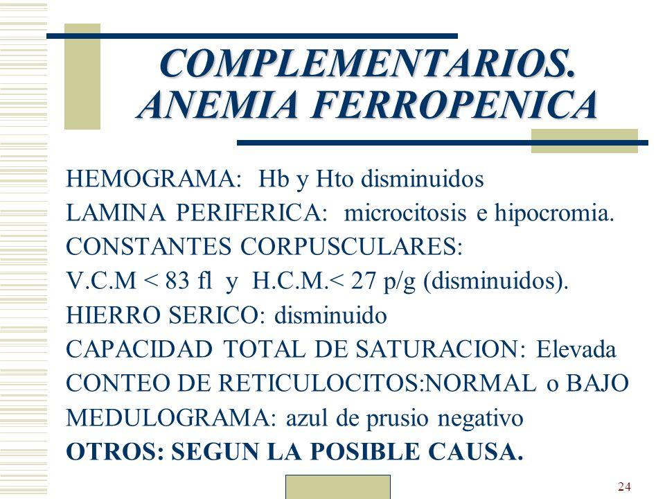 COMPLEMENTARIOS. ANEMIA FERROPENICA
