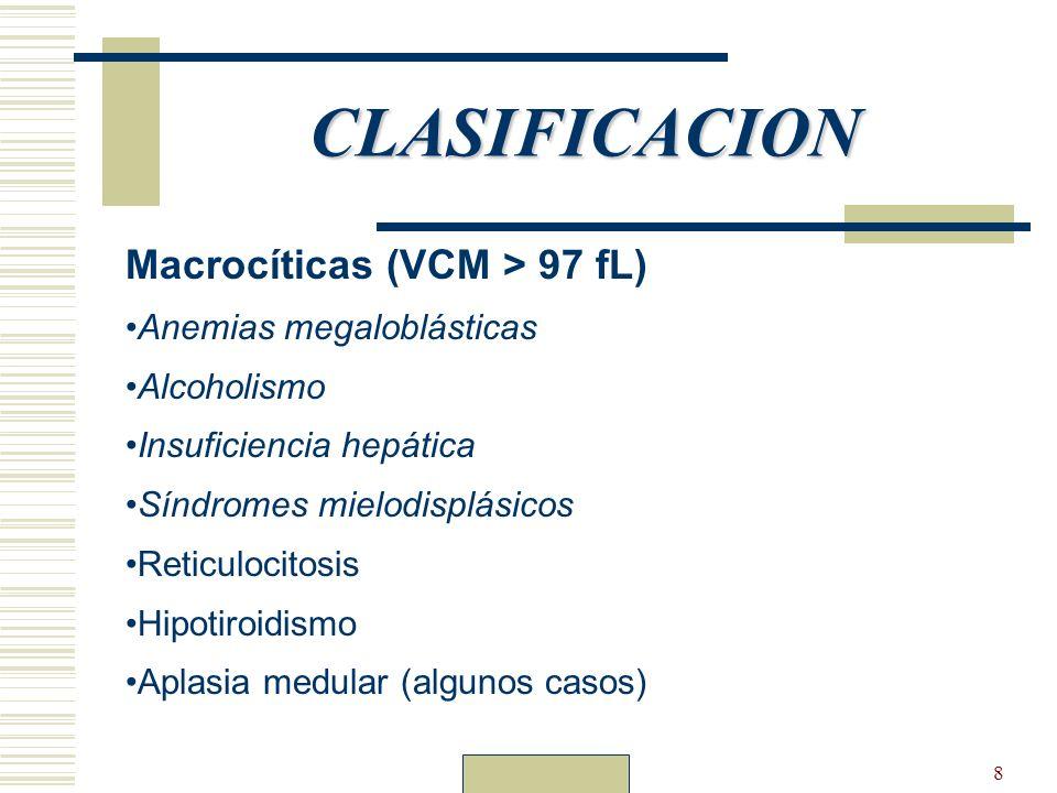 CLASIFICACION Macrocíticas (VCM > 97 fL) Anemias megaloblásticas