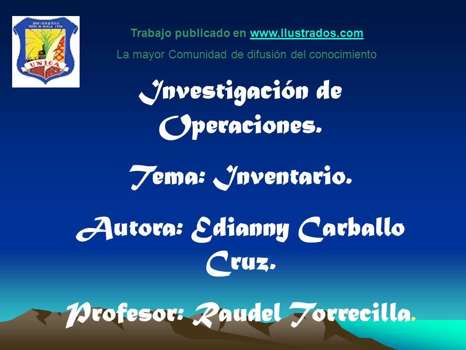 Investigación de Operaciones. Tema: Inventario.